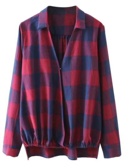 Plaid Crossover Blouse - BLUE AND RED L Mobile