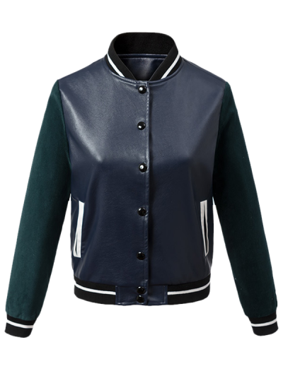 Corduroy PU Leather Baseball Jacket - BLUE AND GREEN M Mobile