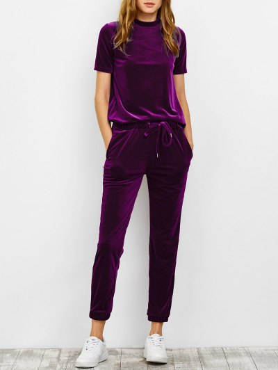 Velvet Tee and Jogging Pants Sweat Suit - PURPLISH RED S Mobile