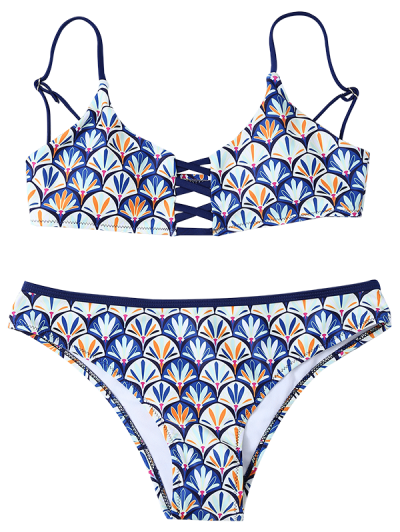 Criss Cross Cami Fish Scales Bikini Set - BLUE S Mobile