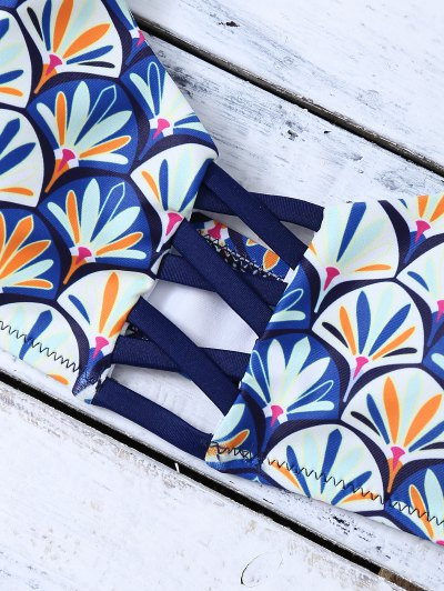 Criss Cross Cami Fish Scales Bikini Set - BLUE L Mobile