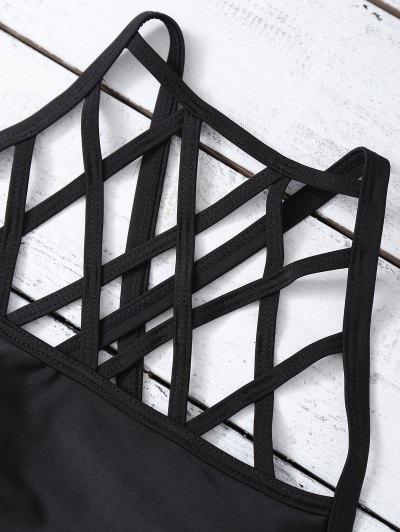 Strappy Hollow Out High Neck Bikini Set - BLACK L Mobile