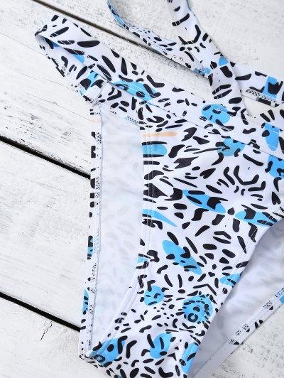 Bandage Leopard Print Bikini Set - WHITE S Mobile
