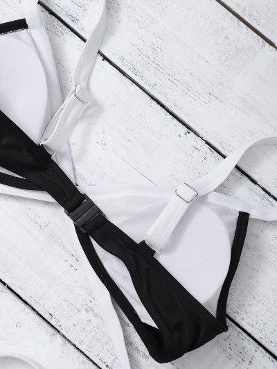 Strappy Two Tone One Piece Swimwear - BLACK M Mobile
