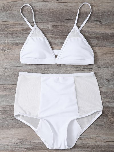 Low Cut Mesh High Waist Bikini Set - WHITE L Mobile