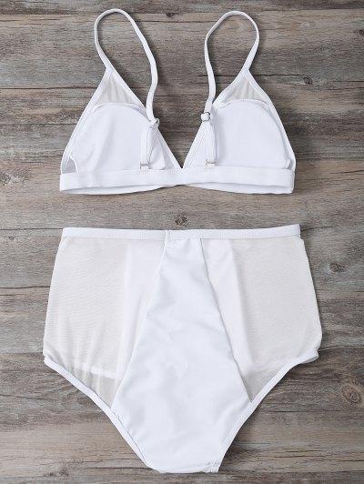 Low Cut Mesh High Waist Bikini Set - WHITE M Mobile