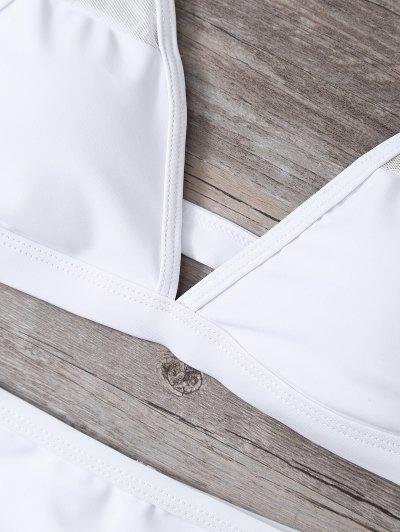 Low Cut Mesh High Waist Bikini Set - WHITE S Mobile