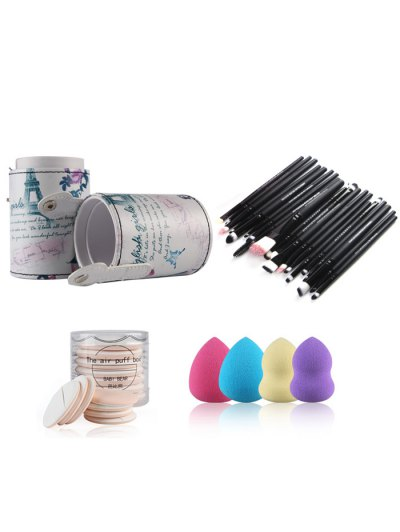 Makeup Brushes Kit + Beauty Blenders + Air Puffs - BLACK  Mobile