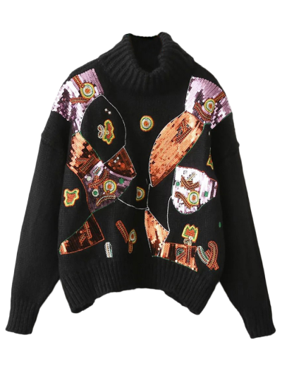 Roll Neck Sequins Sweater - BLACK ONE SIZE Mobile
