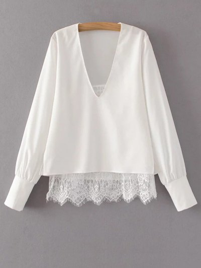V Neck Lace Camisole Panel Blouse - WHITE L Mobile