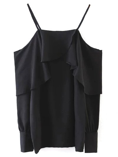 Ruffled Slip Blouse - BLACK ONE SIZE Mobile