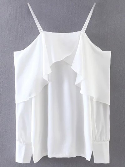 Ruffled Slip Blouse - WHITE ONE SIZE Mobile