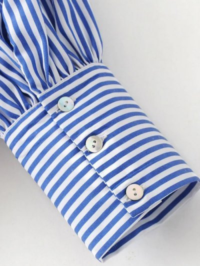 Floral Embroidered Striped Blouse - STRIPE S Mobile