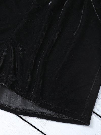 Velvet Crop Top and Shorts - BLACK L Mobile