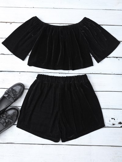 Velvet Crop Top and Shorts - BLACK S Mobile
