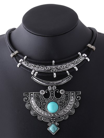 Faux Leather Turquoise Geometric Necklace - CYAN  Mobile