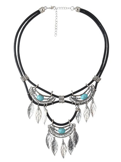 Faux Turquoise Leather Leaf Necklace - CYAN  Mobile