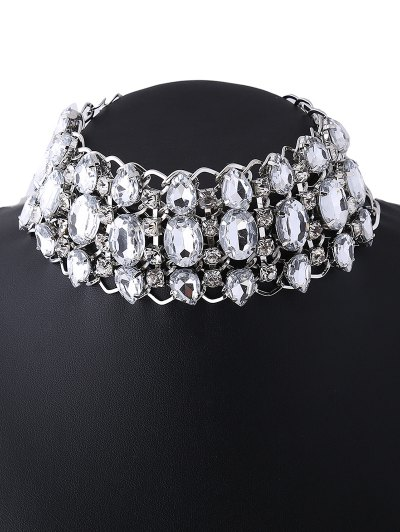 Wide Rhinestoned Hollow Out Choker - WHITE  Mobile