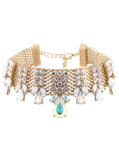 Water Drop Rhinestoned Chain Choker - CHAMPAGNE  Mobile