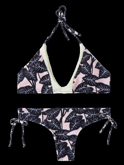 Leaf Print Halter String Bikini - COLORMIX S Mobile