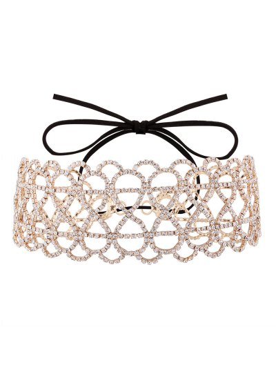 Bowknot Hollowed Infinite Rhinestoned Necklace - GOLDEN  Mobile