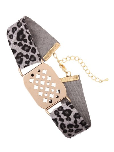 Hollowed Geometry Leopard Velvet Choker - GRAY  Mobile