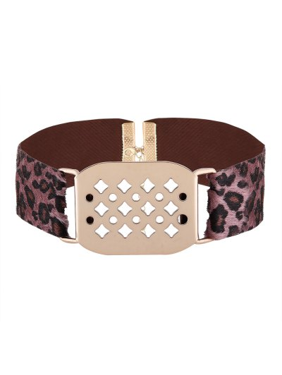Hollowed Geometry Leopard Velvet Choker - PURPLE  Mobile