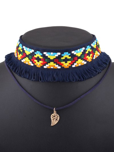 Leaf Crochet Layered Choker Necklace - BLUE  Mobile