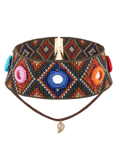 Crochet Rhombus Leaf Choker Necklace - BROWN  Mobile