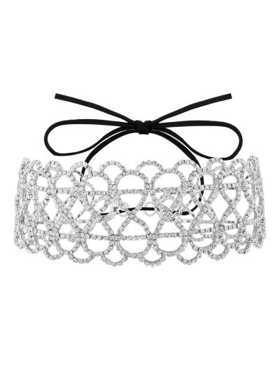 Bowknot Hollowed Infinite Rhinestoned Necklace - WHITE  Mobile