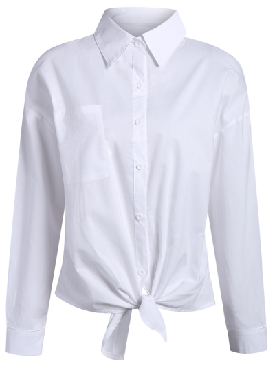 Pocket Tie Knot Shirt - WHITE XL Mobile