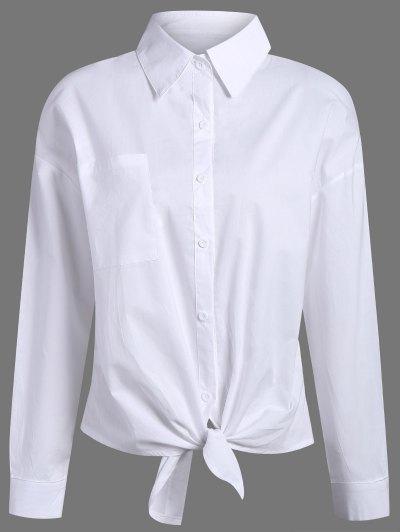 Pocket Tie Knot Shirt - WHITE L Mobile