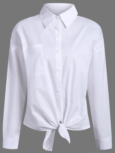 Pocket Tie Knot Shirt - WHITE S Mobile