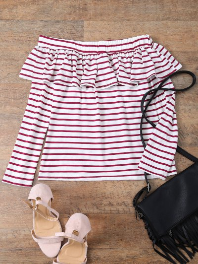 Striped Off The Shoulder Ruffles Top - RED WITH WHITE M Mobile