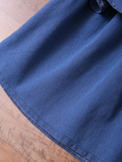 Off The Shoulder Denim Frill Top - DENIM BLUE XL Mobile