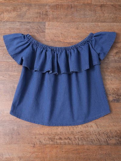 Off The Shoulder Denim Frill Top - DENIM BLUE L Mobile