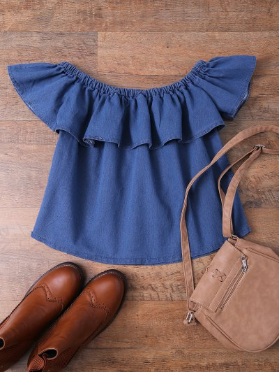 Off The Shoulder Denim Frill Top - DENIM BLUE M Mobile