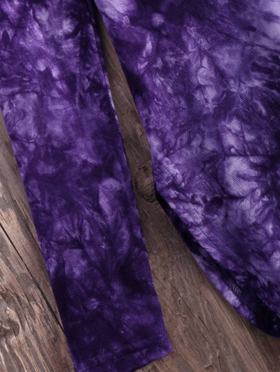 Tie Dyed Long Sleeves Tee - PURPLE L Mobile