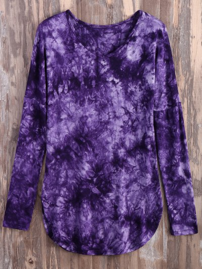 Tie Dyed Long Sleeves Tee - PURPLE L Mobile