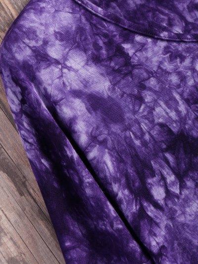 Tie Dyed Long Sleeves Tee - PURPLE M Mobile