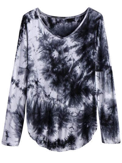 V Neck Long Sleeve Tie Dyed Tee - WHITE AND BLACK L Mobile