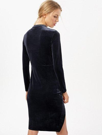 Side Slit Long Sleeve Velour Dress - BLACK S Mobile