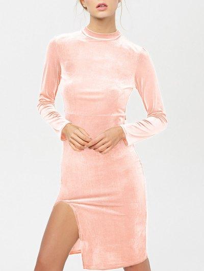 Side Slit Long Sleeve Velour Dress - LIGHT PINK M Mobile