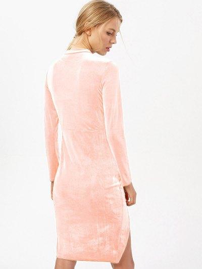 Side Slit Long Sleeve Velour Dress - LIGHT PINK S Mobile