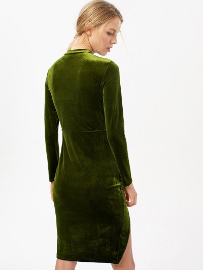Side Slit Long Sleeve Velour Dress - OLIVE GREEN S Mobile