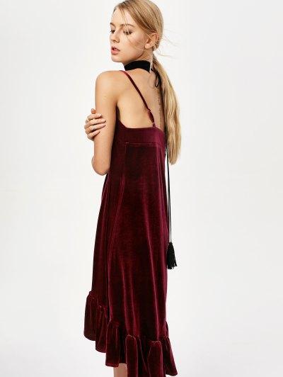 Frilled Velvet Cami Dress - BURGUNDY L Mobile