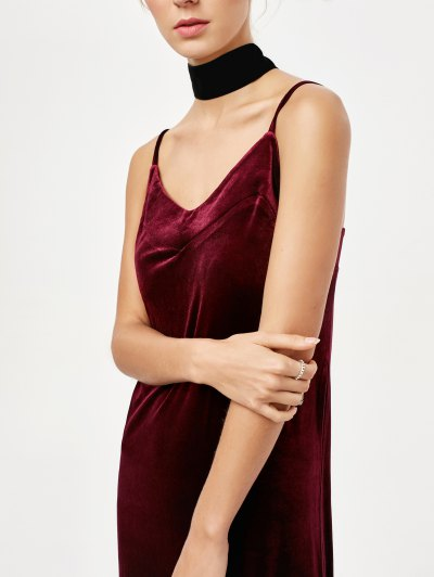 Frilled Velvet Cami Dress - BURGUNDY M Mobile