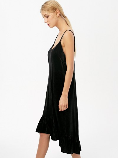 Frilled Velvet Cami Dress - BLACK L Mobile