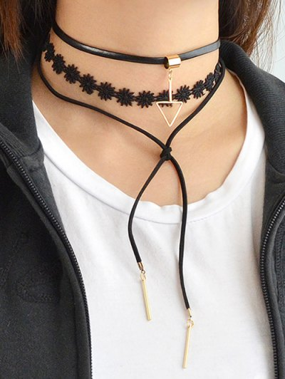 Layered Lace Choker Necklace - BLACK  Mobile