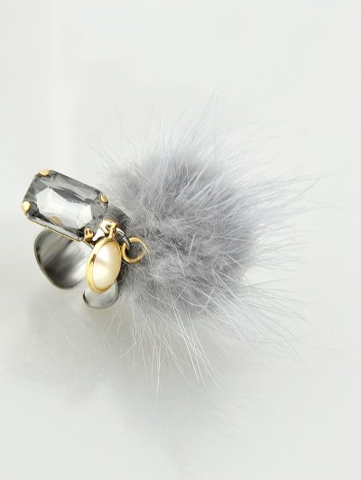 Fuzzy Ball Cuff Ring - GRAY  Mobile